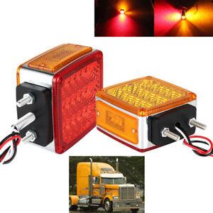 2X 39LED Multipurpose Dual Sided RED AMBER Truck Turn Signal Brake Light Marker