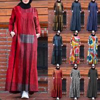 Womens Muslim Dubai Kaftan Long Maxi Dress Long Sleeve Crew Neck Shirt Sundress