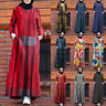 Womens Muslim Dubai Kaftan Long Maxi Dress Long Sleeve Crew Neck Shirt Sundress