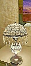 NEW MODERN CRYSTAL JEWEL DIAMANTE SILVER DESK TABLE LAMP LIGHT ROUND SHADE