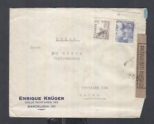 SPAIN 1942 WWII CENSORED COVER BARCELONA TO AARAU SWITZERLAND