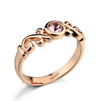 Rose Gold Plated Rose Pink Stone Women Ring Band Made With Swarovski Crystal R45