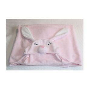 Pottery Barn Kids Pink Bunny Rabbit Baby Critter Hooded Cotton Terry Towel NEW