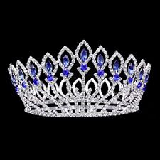 Bridal Pageant Blue Rhinestones Crystal Prom Wedding Tiara Full Crown 81021