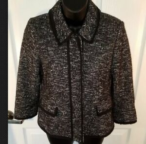 Ann Taylor Cotton Wool Blend Black & White Buttoned Blazer Size 2 Career Jacket
