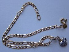 a 9K ygold ANKLET WITH TINY DIAMOND ON HEART CHARM 9 INCHES UNUSE  QVC very rare