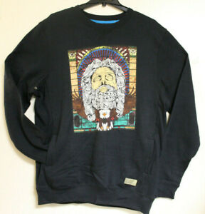 Entree LS Mens Black Eagle and Old Man Sweatshirt with Pockets Size XL