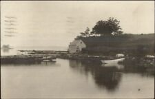 River & Fishing Shack Lynn MA Cancel 1923 Real Photo Postcard
