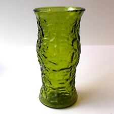 Vintage Crinkle Glass Vase Green by E.O.Brody & Co. Cleveland Ohio H24cm 70s