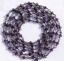 5 Feet Amethyst Hydro Black Plated Vermeil Rosary Faceted Link Chain For Sale.