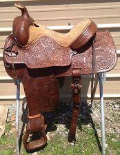 """15"""" Used/vintage TexTan Hereford Western trail/pleasure saddle tooled leather"""