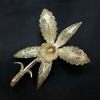 Vintage Topazio Portugal 925 Sterling Silver Filigree Brooch Pin Iris Fine