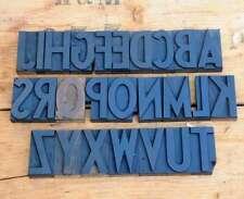"A-Z alphabet 3.54"" letterpress wooden printing blocks wood type Vintage Printer"
