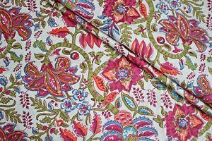 White 100% Cotton Ikat Batik Hand Block Printed Dress Material Craft Fabric