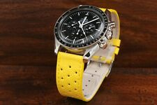 Hermes Cinturino Racing Giallo Vera Pelle Ansa 20mm Strap Sport Watch Chrono NEW