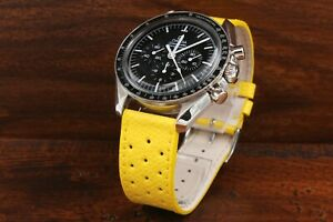 Hermes Watch Strap Racing Yellow Real Leather Lug 0 25/32in Sport Chrono New