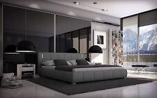 Doppelbett 180x200 Designerbett Polsterbett Ehebett Bett Kunstleder LED Grau