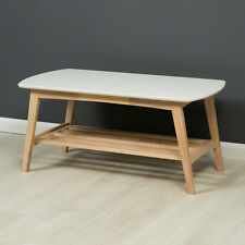 Eden Modern Coffee Table / White Top Coffee Table / Wood with Shelf / Brand New