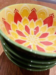Gorgeous Moroccan Design Bowls 12cm Tangerine, Yellow and Lime  | Set of 4