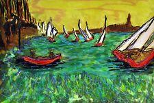 The Regatta Original Watercolor By F. DeTrolio Famed To 22 x 28