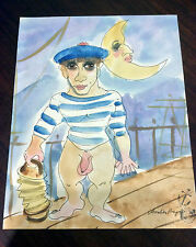 "Jaff-Noel-Seijas ""Cabin Boy's Jig"" Abstract Watercolor Listed Artist"