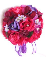 Wedding Bouquets 17 pc Silk Flower Bridal package D.PINK FUCHSIA BEGONIA Purple