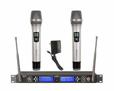 2x100 Channel UHF Wireless Hand held Microphone Mic System New 522H Sliver