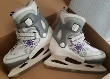 Bladerunner Kids Ice Skates, White/Purple/Gray, Adjustable Size 2-5
