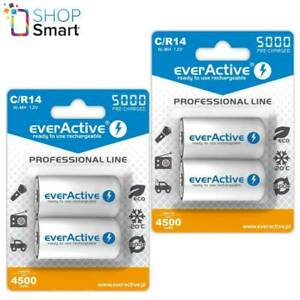 4 EVERACTIVE Professionnel Ligne C Piles Rechargeable Ampoule CR14 4500mAh Neuf