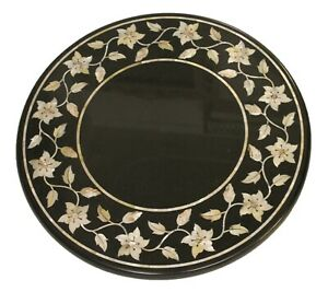 Table Stop Restaurant Dining Coffee Mother Pearl Inlay Black Madras Stone Décor