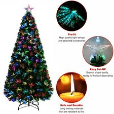 Pre Lighted Christmas Tree Fibre Optic Colour Changing Xmas LED Lights Star Gift