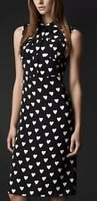 $2k BURBERRY PRORSUM BLACK WHITE HEART PRINT SILK SHIRT DRESS IT40/US 4 $1995