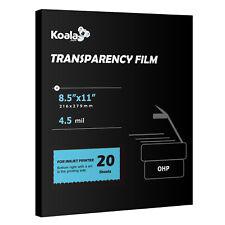 Koala Inkjet OHP Film Transparency Overhead Projector 20 Sheets 8.5x11 Printing