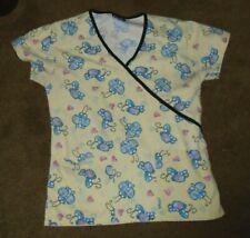 Pastel Yellow Bugs & Hearts Scrub Uniform Top Ladies Xs Extra Small