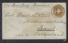 INDIA  (PP2809B) 1898 QV 2  1/2A PSE MANGALORE BY SEA TO SWITZERLAND