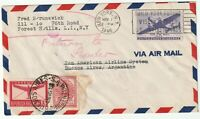 1946 NY USA AIRMAIL TEST FLIGHT TO PAN-AM ARGENTINA STAMPS OF BOTH COUNTRIES