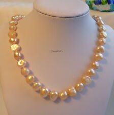 Genuine 9-10mm Baroque freshwater pearls necklace Pink