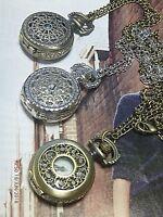 1 Steampunk Vintage Steam Punk Rose Locket Quartz Watch Pendant Bronze 30 inch