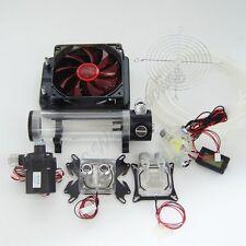 Water Cooling Kit 120 Radiator CPU GPU Block Pump Tank Reservoir Tubing Red LED