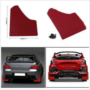 4pcs Red Mudflaps Splash Guards Fender Universal Fit For Car Front Rear Wheel