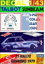 DECAL 1/43 TALBOT SUNBEAM LOTUS J-P.NICOLAS R.SANREMO 1979 DnF (01)