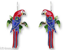 Zarah Greenwing MACAW Parrot EARRINGS Enamel Silver Plated - Gift Wrapped Box