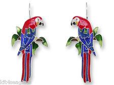 Zarah Zarlite Greenwing MACAW Parrot EARRINGS Enamel Silver Plated - Gift Boxed