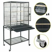 """53"""" Large Parrot Bird Cage Cockatiel Lovebird Finch Feeder Stand Play Top House"""