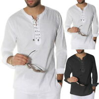 Retro Mens Lace Up Longline Shirts Cotton Knitted Casual Long Sleeve Blouse Tops