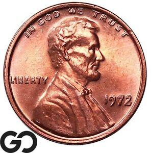 1972/72 DDO Lincoln Cent Memorial Penny, Lustrous Red, Gem BU++ Key Date ERROR!