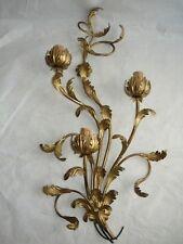 Applique a 3 luci in ferro battuto foglie acanto oro NUOVO