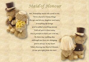 MAID OF HONOUR GIFT - poem (Laminated Gift)- S2