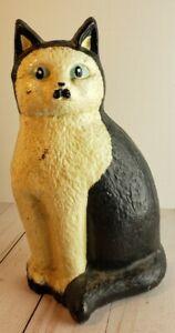 "Vintage Cast Iron Doorstop "" Cat "" Black & White , Blue Eyes Folk Art Figurine"
