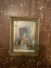Antique Art Deco Wood Jewelry Box with Art Print Cover